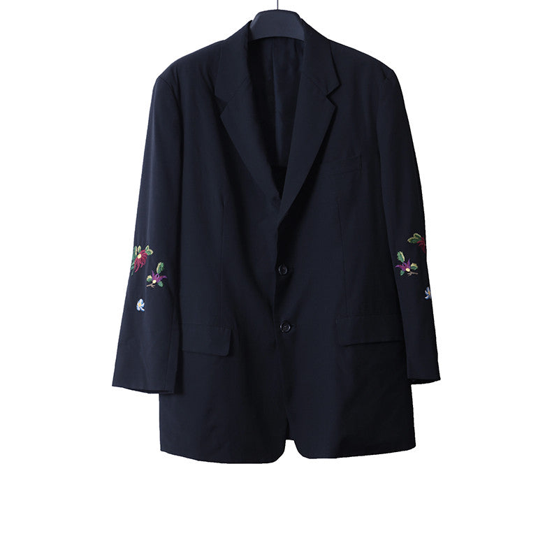 YOHJI YAMAMOTO VINTAGE LAINE WOOL BUTTON DOWN JACKET WITH FLORAL EMBROIDERED DETAIL SLEEVES
