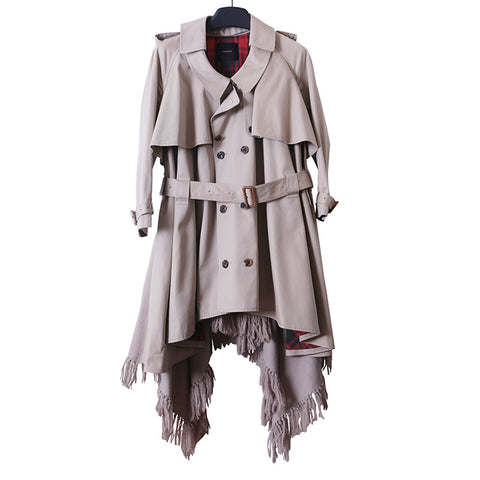 UNDERCOVER 14AW BELTED FRINGE DETAIL TRENCH COAT WITH PLAID INNER LINNING