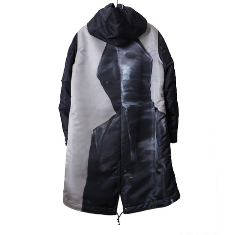 UNDERCOVER X MICHAEL BORREMANS 16AW ZIP UP PADDED BACK PRINT HOODED COAT