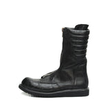 RICK OWENS CROCODILE SKIN LEATHER FRONT ZIP BOOTS