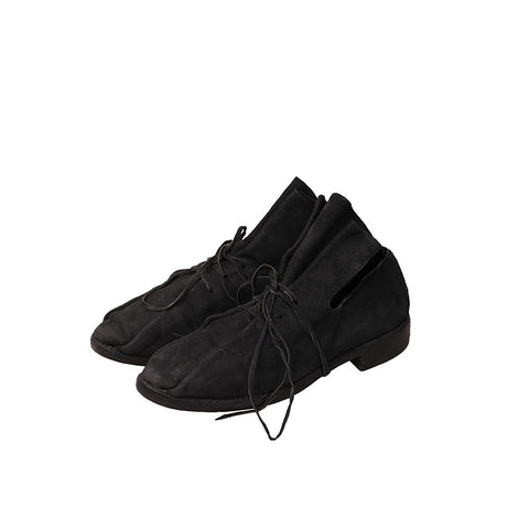 GUIDI X UMA WANG REVERSE KANGAROO LEATHER LACE UP FLAT DERBY