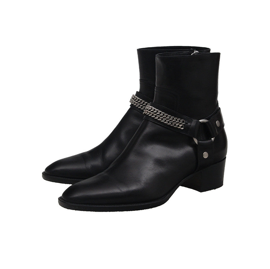 SAINT LAURENT PARIS HARNESS CHAIN SIDE ZIP BIKER BOOTS