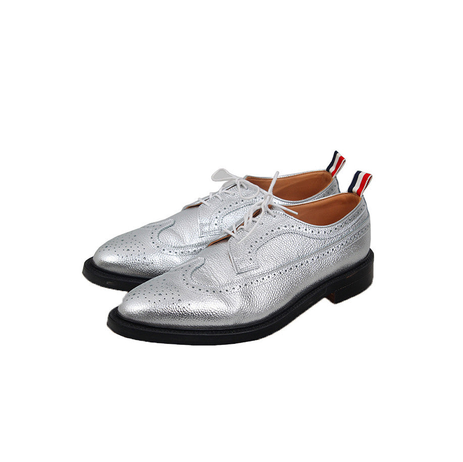 THOM BROWNE GRAIN LONGWING BROGUE LEATHER SHOES