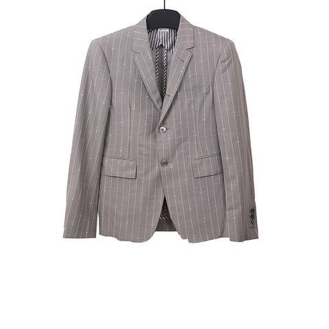 THOM BROWNE GREY/WHITE ANCHOR PINSTRIPE WOOL BLAZER