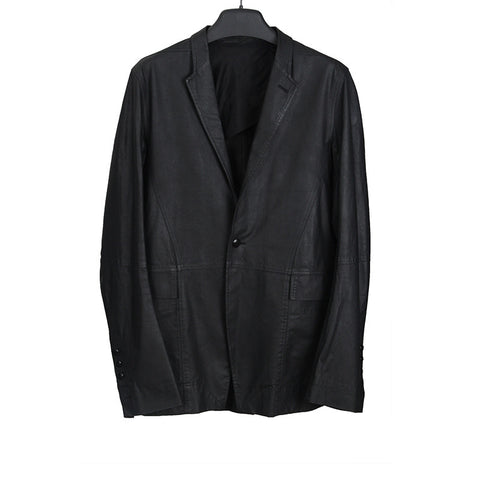 RICK OWENS ONE BUTTON SS14 HOODY DEER LETHER BLAZER
