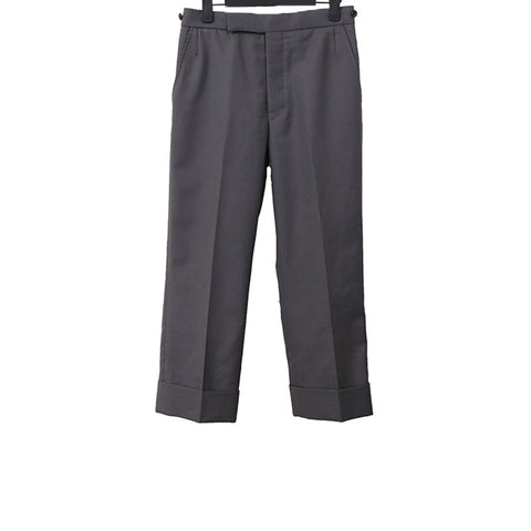 THOM BROWNE GREY TWILL CLASSIC WOOL TROUSERS