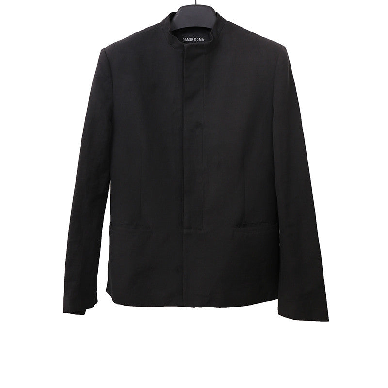 DAMIR DOMA BLACK LINEN BLEND HIGH COLLAR BLAZER