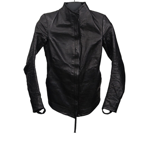BORIS BIDJAN SABERI AW13-14 CREASED OVERLOCK STITCHED HORSE LEATHER JACKET