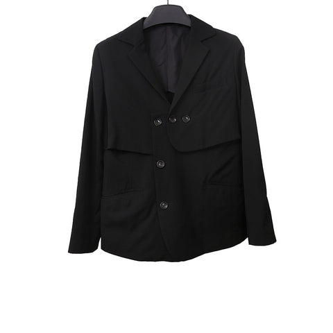 Y'S YOHJI YAMAMOTO LAINE WOOL MULTIPLE LAYERS BUTTON DOWN JACKET