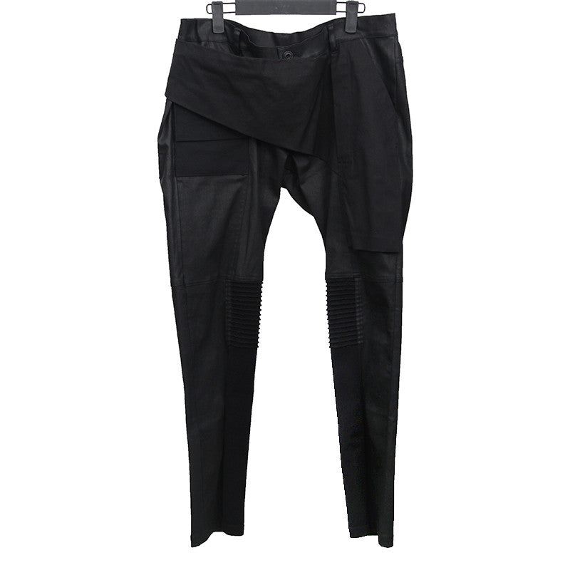 RICK OWENS WAXED COTTON CANVAS BIKER TROUSERS PANTS