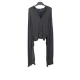 MIHARAYASUHIRO TEXTURE KNIT CARDIGAN WITH ATTACHED BRAIDED SCARF