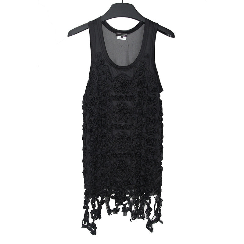 COMME DES GARCONS HOMME PLUS FRONT RUFFLED FLOWER SLEEVELESS POLYESTER TANK TOP