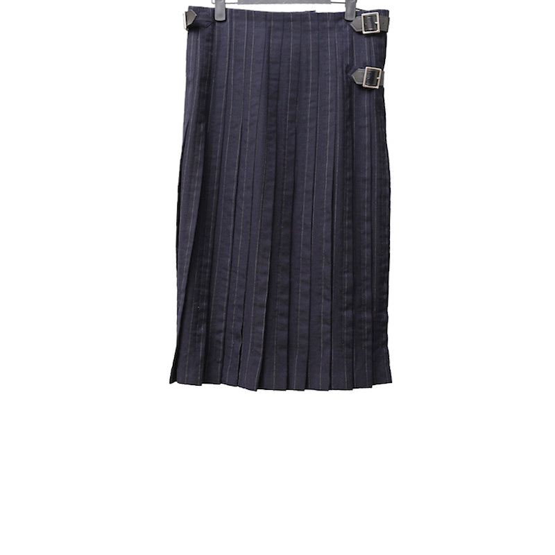 COMME DES GARCONS HOMME PLUS SS09 NAVY SRIPE WOOL SKIRT WITH PLEATS DETAIL