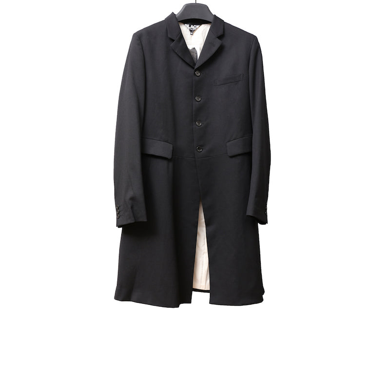 BLACK COMME DES GARCONS SS11 BLACK LONG TAILORED WOOL BLAZER WITH SPLIT BACK