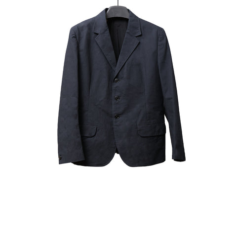 YOHJI YAMAMOTO SS13 DARK NAVY SINGLE BREASTED COTTON JACKET WITH ELASTICIZED DETAIL