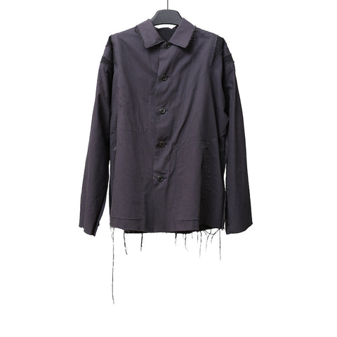 YOHJI YAMAMOTO 15AW BLACK REVERSIBLE SLASH COTTON SHIRT