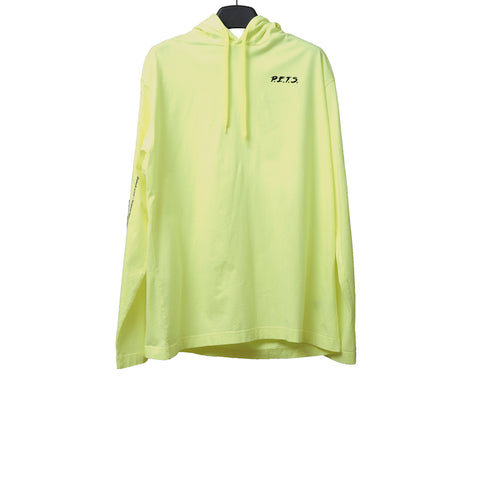 VETEMENTS 17AW WAH18TR3 NEON COTTON LONG SLEEVES TEE WITH HOOD