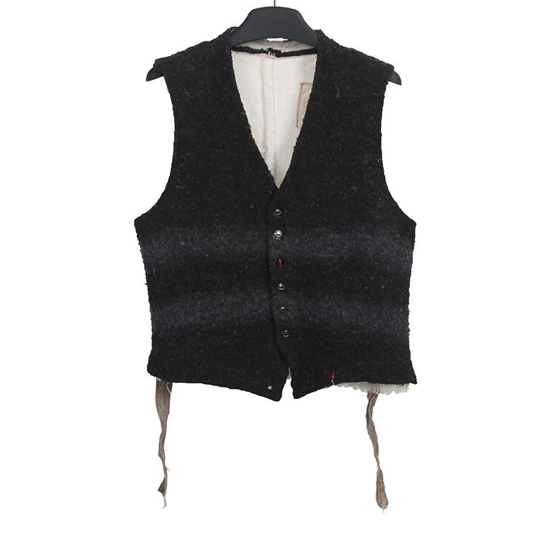 GREG LAUREN LINEN STRIPED BLANKET VEST