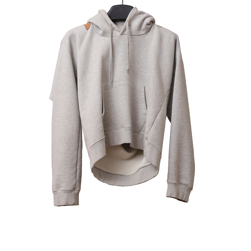 VETEMENTS 17AW WAH18TR7 GREY COTTON MISPLACED HOODIE WITH POCKET