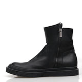 D.GANK BY KANG.D BUFFED LEATHER POINTED COLLAR SIDE ZIP BOOTS