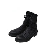 JULIUS_7 SS14 BLACK OVERLACED COMBAT LEATHER BOOT