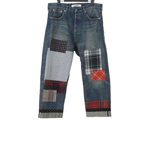 JUNYA WATANABE COMME DES GARCONS MAN 14AW PLAID PATCHWORK WASHED DENIM WITH POLKA DOT CORDUROY