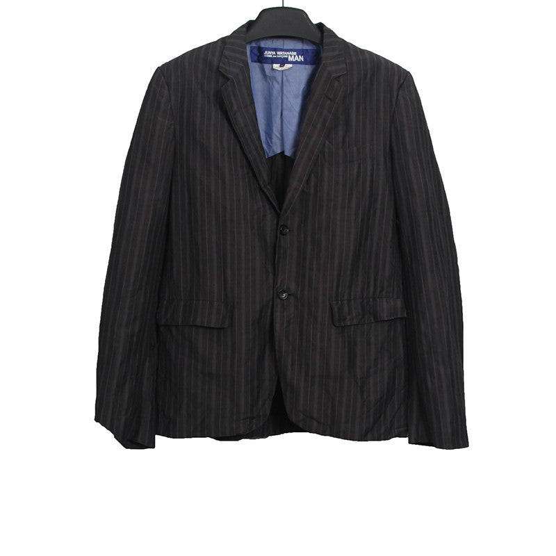 JUNYA WATANABE LINEN BLEND WASHED EFFECT TWO BUTTON STRIPED BLAZER