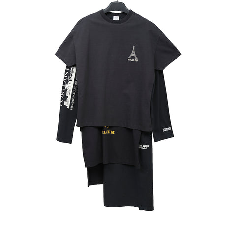 VETEMENTS 17AW WAH18DR10 BLACK PRINTED COTTON LAYER T-SHIRT DRESS