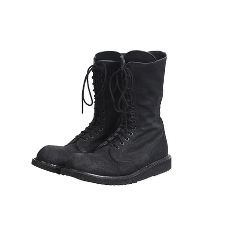 RICK OWENS LACE UP COMBAT SUEDE LEATHER ARMY BOOTS