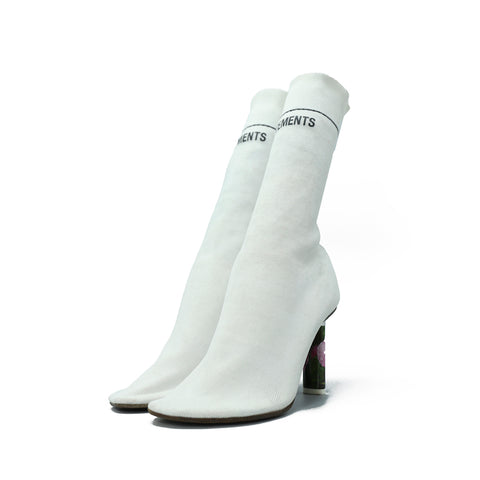 VETEMENTS 17AW 16244 WHITE STRETCH-JERSEY SOCKS ANKLE BOOTS WITH ROSE HEEL