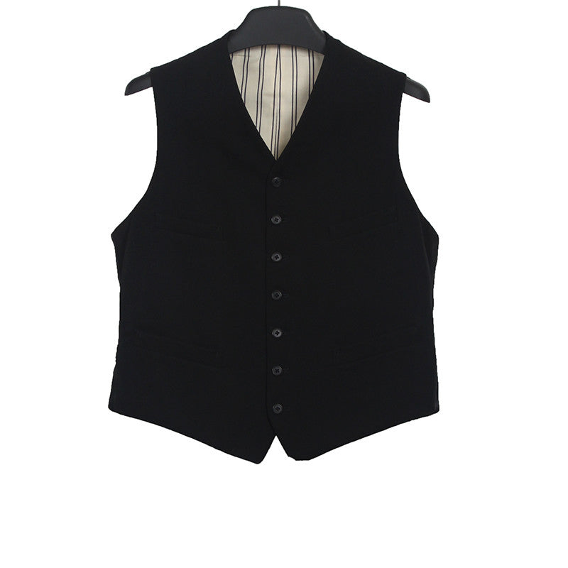 Y'S FOR MEN BY YOHJI YAMAMOTO BUTTON DOWN WAISTCOAT WITH BELT