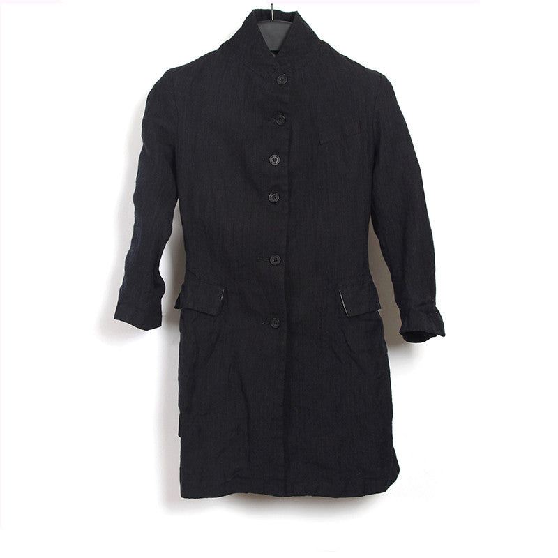 PAUL HARNDEN 13SS LINEN WOOL BLEND FLARED MID-LENGTH WOMEN COAT