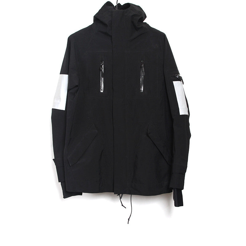 11 BY BORIS BIDJAN SABERI 11BYBBS WATER- RESISTANT HIGH TECH REFLECTIVE STRIPE JACKET