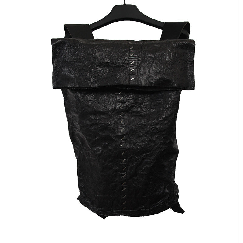 "ISAAC SELLAM EXPERIENCE ""BARDA AMNESIQE"" CALF SKIN CRINKLED EFFECT BACKPACK WITH BROZEN STAPLE DETAIL"