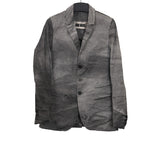 UMA WANG LINEN BLEND WASHED DISTRESSED THREE BUTTON DOWN JACKET