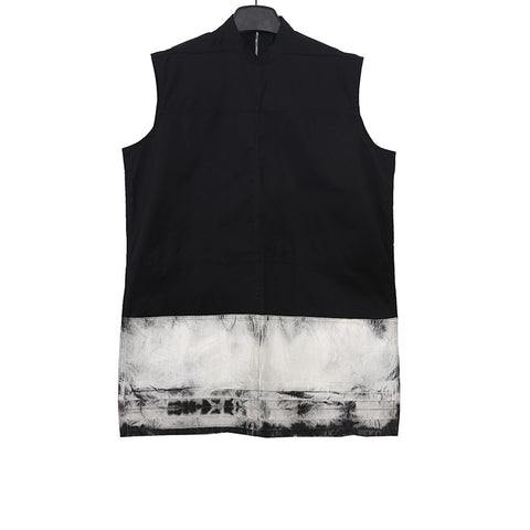 RICK OWENS 15SS OVERSIZED SLEEVELESS DENIM TOP WITH EAR ZIP FASTENING