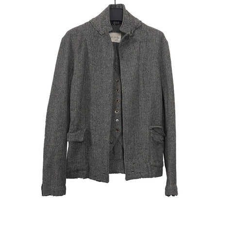 GREG LAUREN WOOL LINEN BLEND TWEED FAKE LAYERED BUTTON DOWN OLIVER HERRINGBONE JACKET