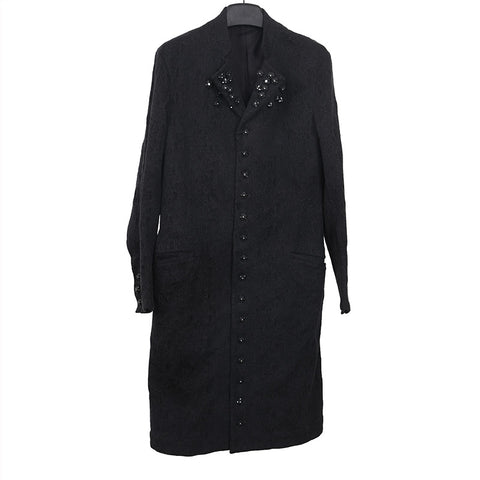 YOHJI YAMAMOTO EMBROIDERED BUTTON DOWN COAT CRYSTAL ROSE BUTTON DETAIL