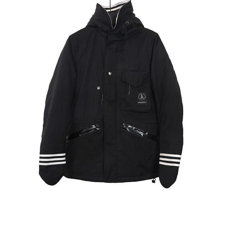 Y-3 X GRUNGE JOHN ORCHESTRA. EXLOSION POLYESTER PADDED HOODED JACKET
