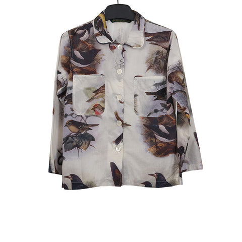 PAUL HARNDEN SHOEMAKERS BIRDS PRINT ROUND COLLAR BUTTON DOWN SHIRT