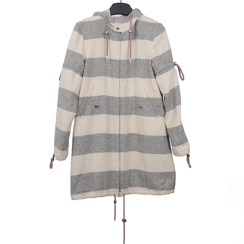 THOM BROWNE WHITE GREY STRIPED ZIP UP HOOED WOOL COAT