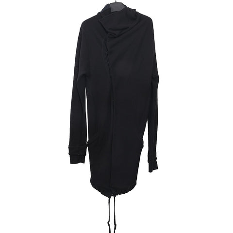 BORIS BIDJAN SABERI HIDDEN LEATHER BUTTON DOWN OBJECT DYED OVERLONG HOODIE