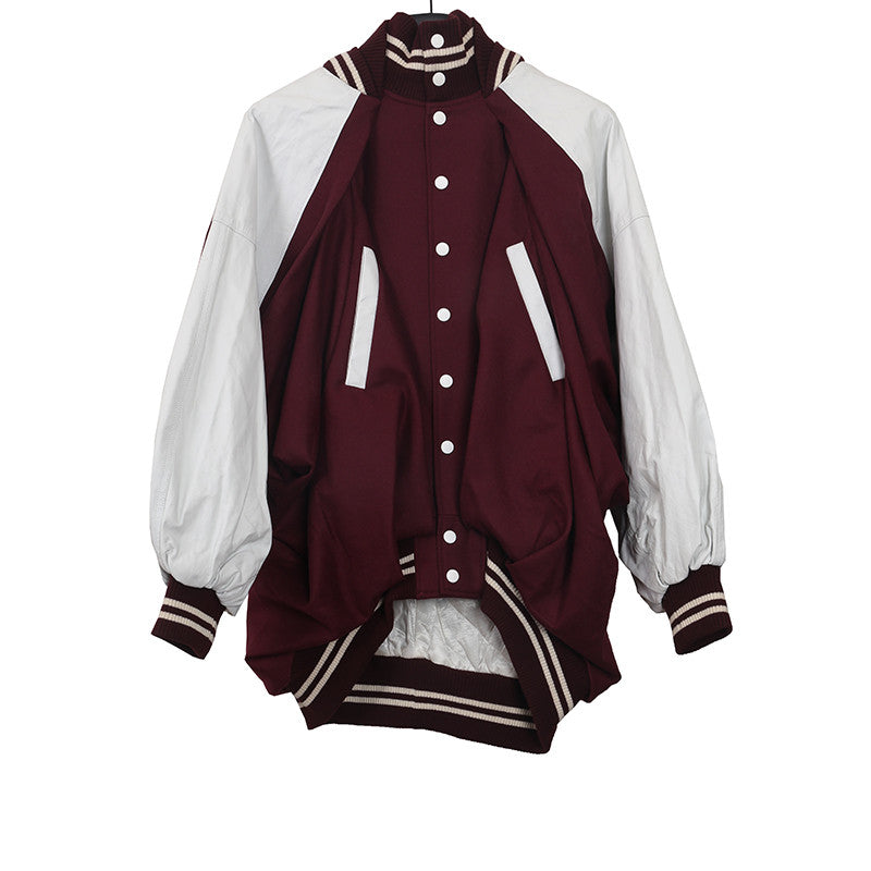 UNDERCOVER 15AW HIGH NECK WOOL VARISITY BASKEBALL JACKET WITH LEATHER SLEEVES