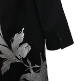 DRIES VAN NOTEN 14AW SILVER FLORAL WOVEN BUTTON DOWN COAT