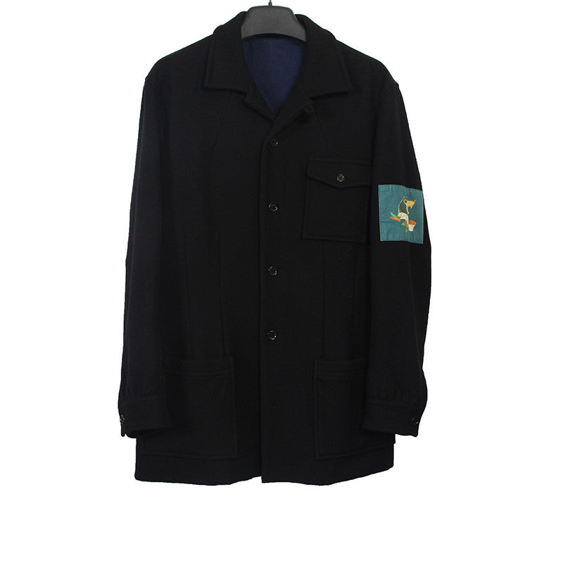 "YOHJI YAMAMOTO POUR HOMME CASHMERE BLEND ""EAST HELL"" WOLF PATCH JACKET"