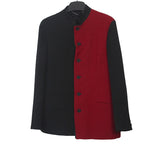YOHJI YAMAMOTO 15AW N-STAND CONSTRASTED PANEL DOUBLE LAYER WOOL BLAZER