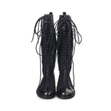 ANN DEMULEMEESTER LEATHER TRIPLE LACE UP FLAT TALL BOOTS