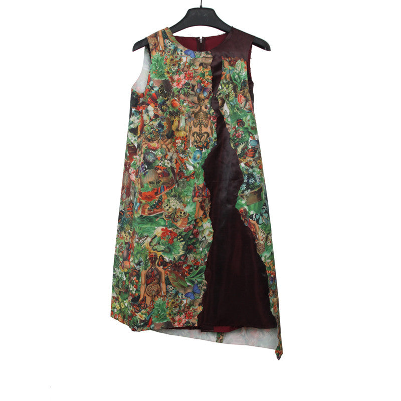 "UNDERCOVER 05SS ""BUT BEAUTIFUL II HOMAGE TO JAN SVANKMAJER"" RAYON BLEND SLEEVELESS PRINT ONE PIECE WITH CRACKED DETAIL"