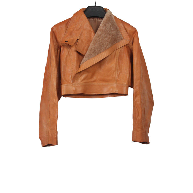RICK OWENS 12AW WINGED SALON LEATHER JACKET WITH LAMB FUR COLLAR