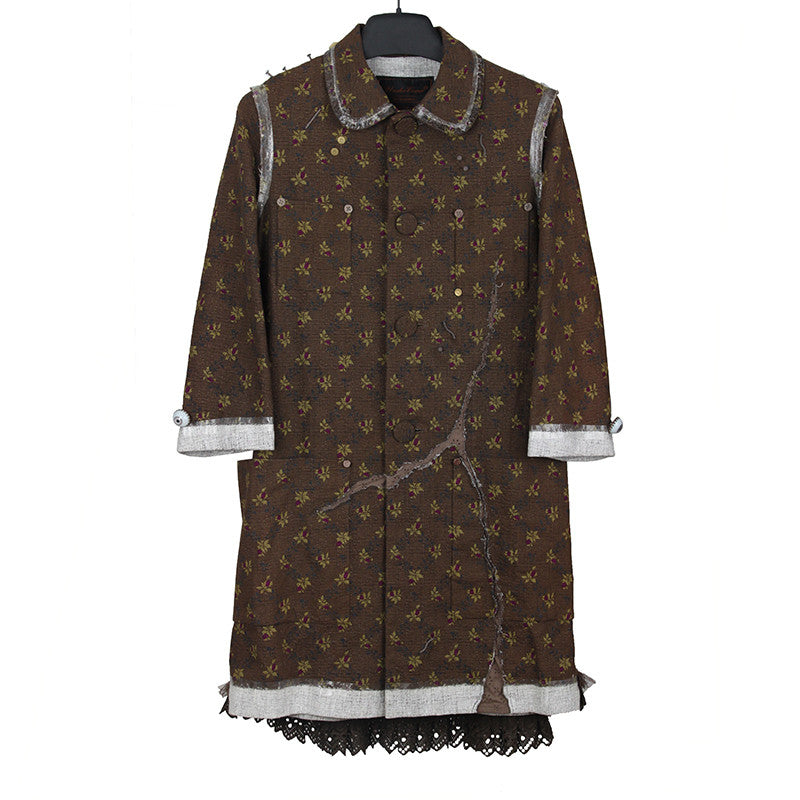 UNDERCOVER SS05 BUT BEAUTIFUL II EYEBALL NAIL TOOTH THUMBTACK DRESS COAT